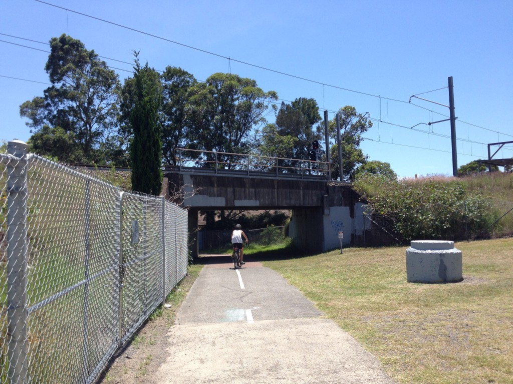 Looking north, through the underpass where the gully line passed under the main northern railway near St Pius X High School