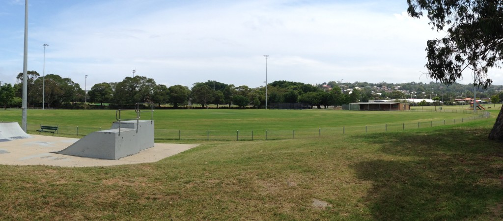 "Harker Oval (formerly ""New Lambton Oval"" is behind the trees, behind the distance."