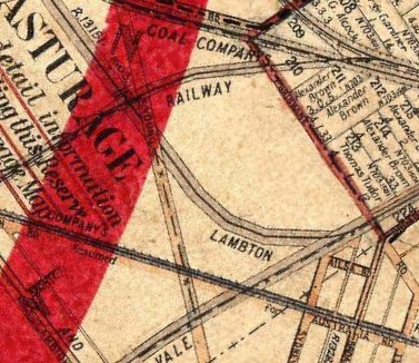 This portion of an old map shows the same area as the photo above.