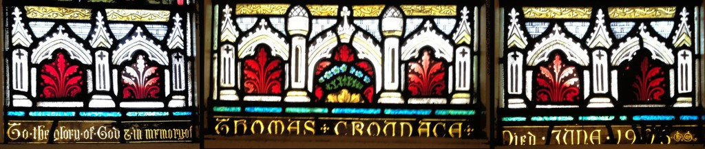 "Stained glass window in east wall of the new 1907 brick church, a gift of the family of the late Thomas Croudace. ""To the glory of God in memory of Thomas Croudace. Died June 1906"""