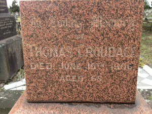 Inscription on grave of Thomas Croudace.