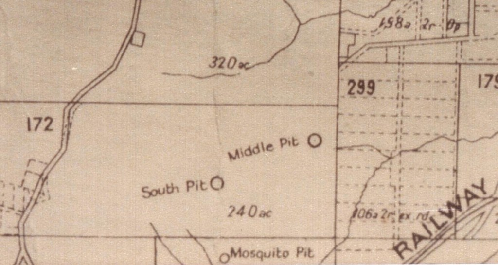 This 1932 Department of Mines map shows the location of both Mosquito Pit and Middle Pit.