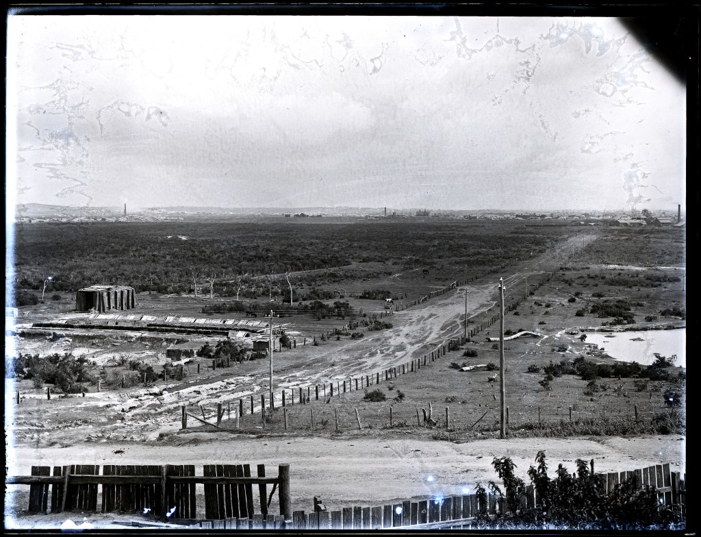 The Newcastle lowlands. 1897. Photo taken from intersection of Beaumont St and Glebe Rd looking north towards Hamilton. University of Newcastle Cultural Collections.