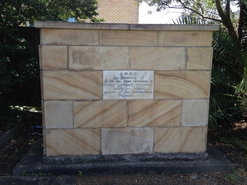 Memorial erected at St Andrews church Mayfield, in 1957 when the cemetery was removed.