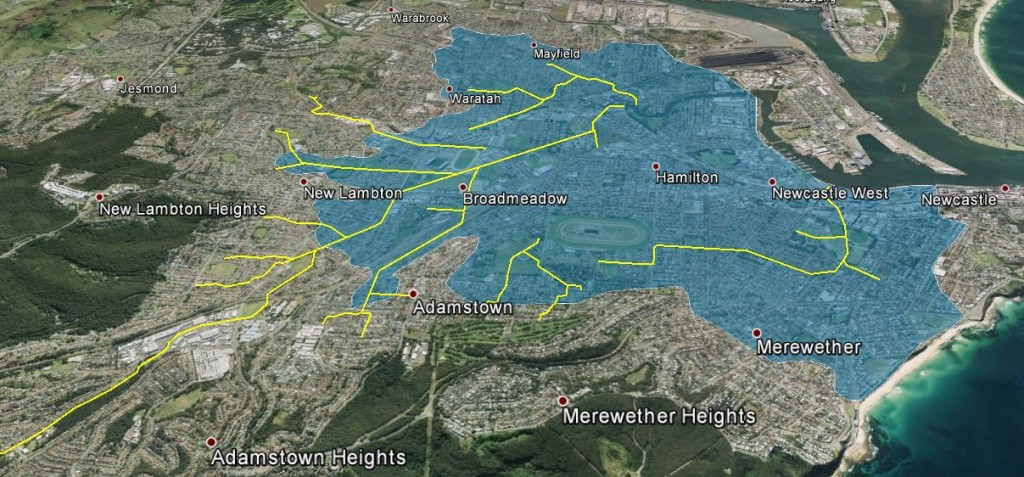 Newcastle concrete drain system. Area shaded blue is 15m or less above sea level.