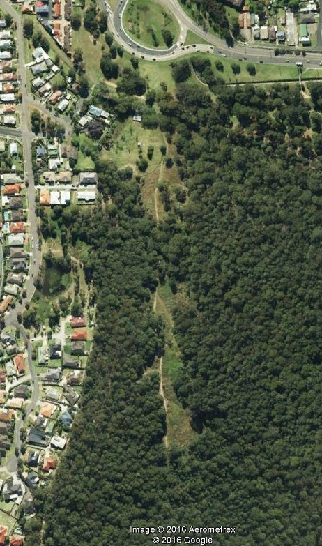 "The former site of ""Hollywood"" as shown in Google Earth. Image date April 2014"