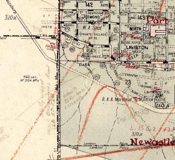 "On this 1959 map, someone has marked in pencil on the Lambton/Wallsend boundary ""Hollywood illegal occupancies road:"