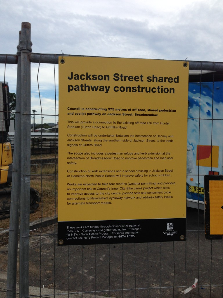Jackson Street shared pathway construction.
