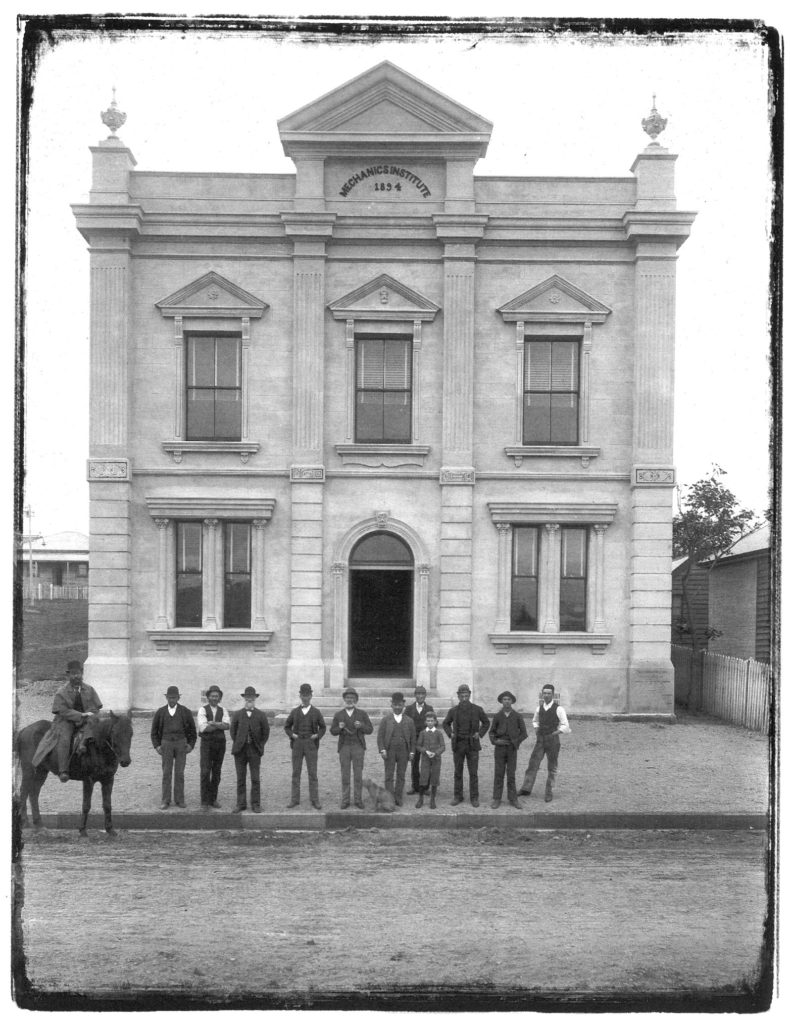 Lambton Mechanics' Institute. 1894. Photo by Ralph Snowball. Newcastle Region Library, Local Studies.