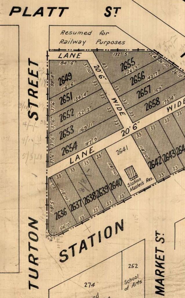 1926 real estate map of Waratah, showing Station Master's residence.