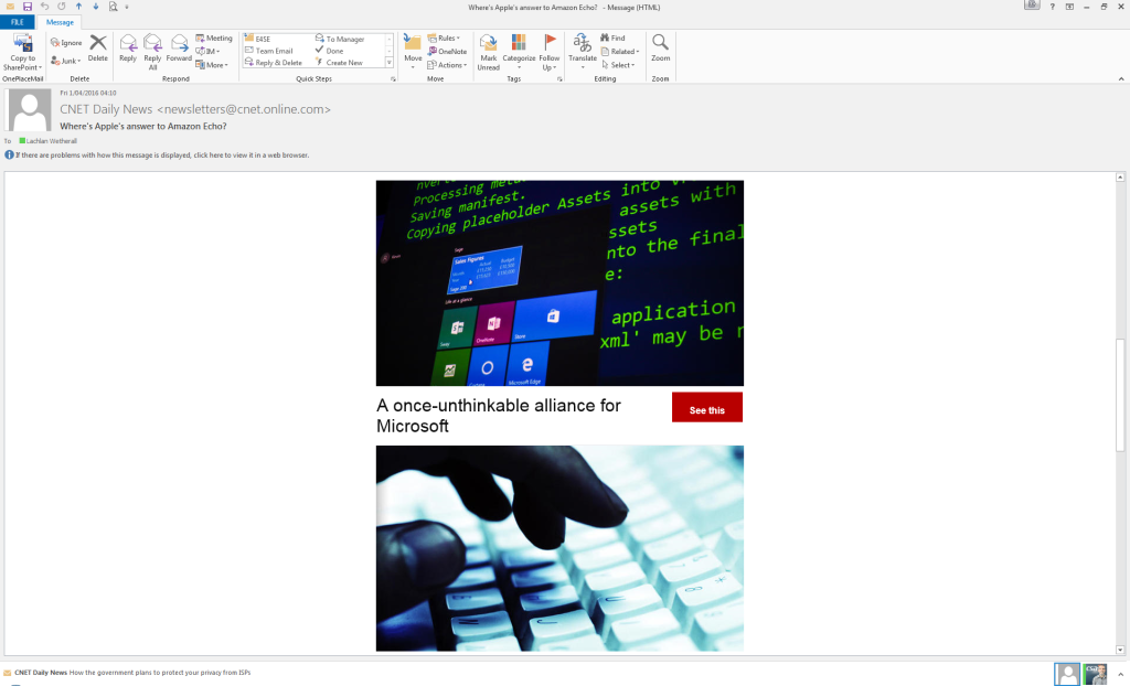 CNET's new and worthless newsletter layout.