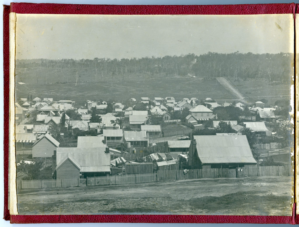 "One frame from a panorama of Lambton in 1904. The ""Gold Miners' Home"" hotel is visible in the extreme left of this photo. University of Newcastle Cultural Collections."