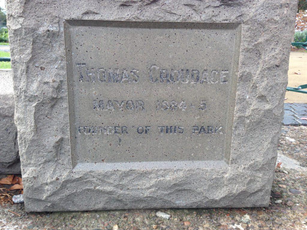 Inscription to Thomas Croudace on Lambton Park memorial gates.