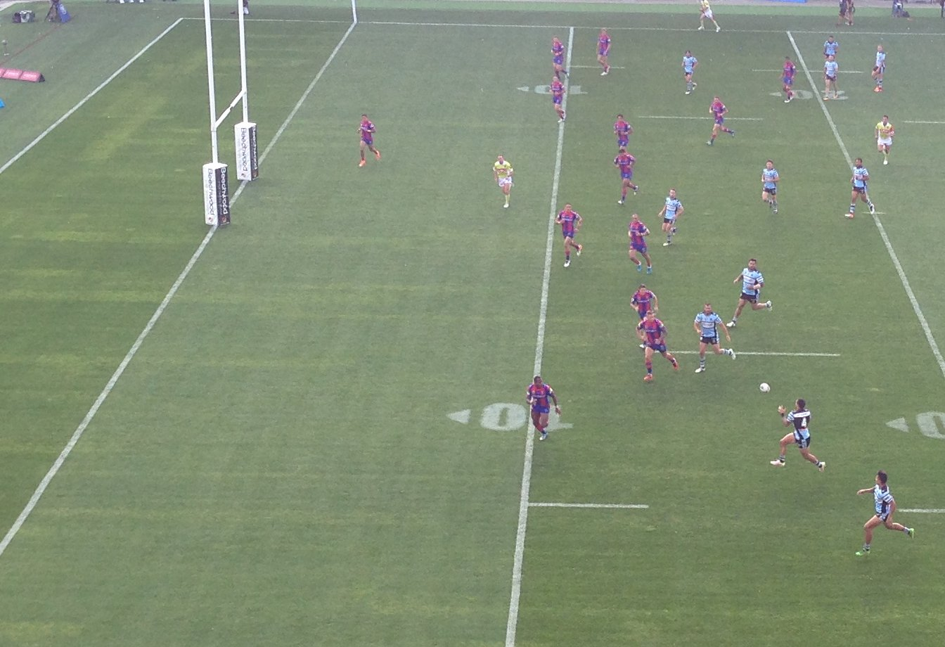 The Cronulla Sharks, moments before they cross for yet another try.