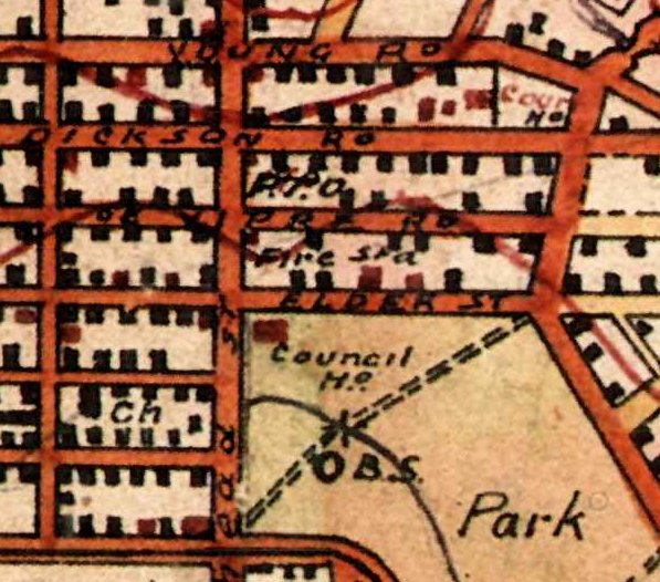 Extract of 1910 map, showing the location of Lambton Fire Station. University of Newcastle, Cultural Collections.