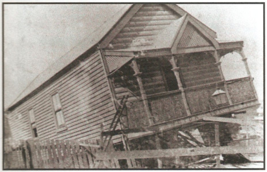 The two storey wooden fire station in De Vitre St, collapsed during a violent wind storm in March 1913.