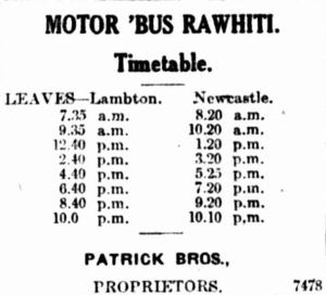 "A timetable for the ""Rawhiti"", appearing in the newspaper, 17th July 1923"