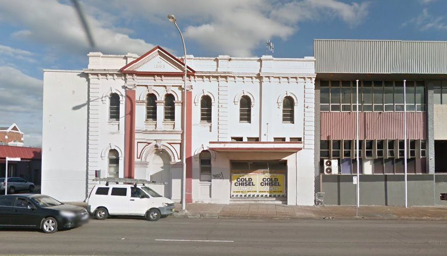 The former Hamilton Mechanics' Institute transformed into drabness. Image from Google StreetView.
