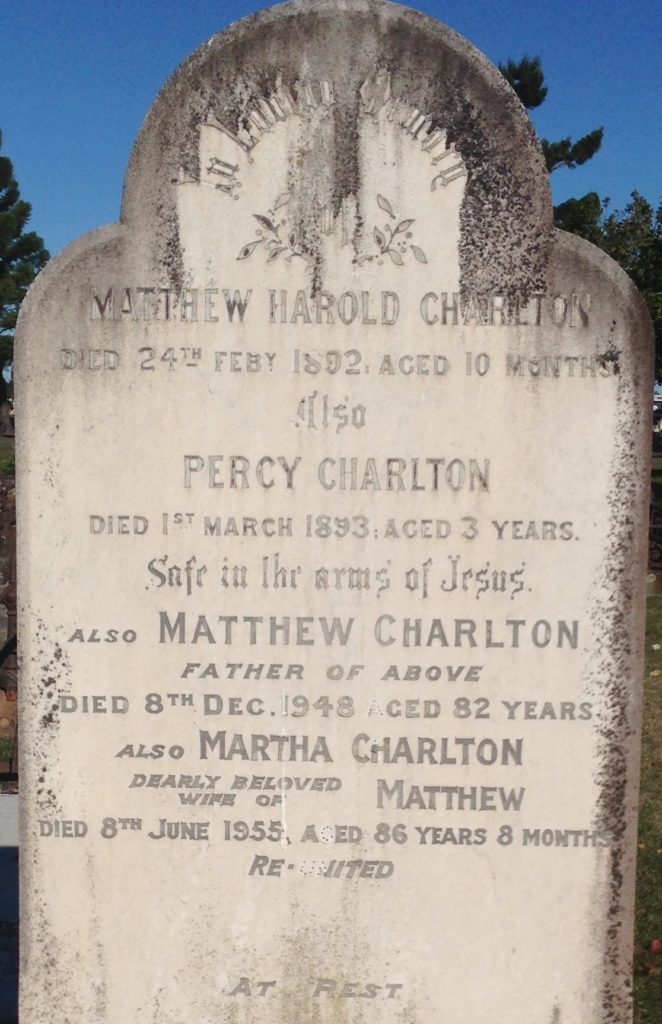 Headstone of Matthew Charlton, M.H.R, in Sandgate Cemetery.
