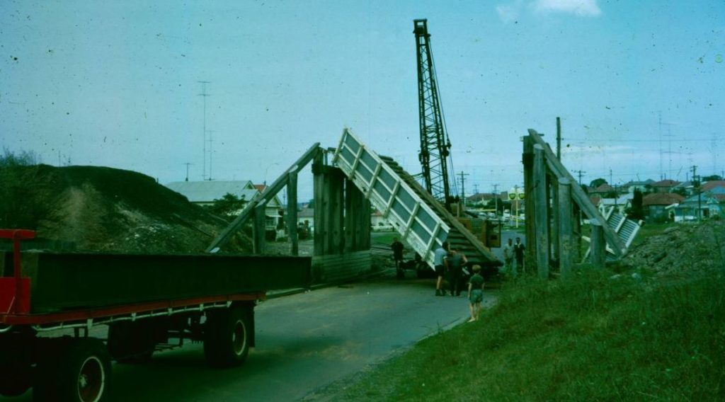 The colliery railway bridge over Hobart Road being removed in March 1966. S. Woodington.