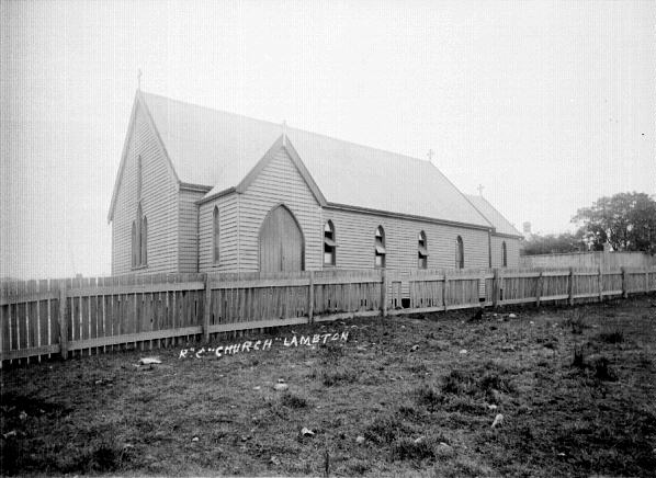 The first Lambton Catholic Church in De Vitre St, on the site of St John's Primary School, 1891. Photo by Ralph Snowball, Newcastle Region Library.