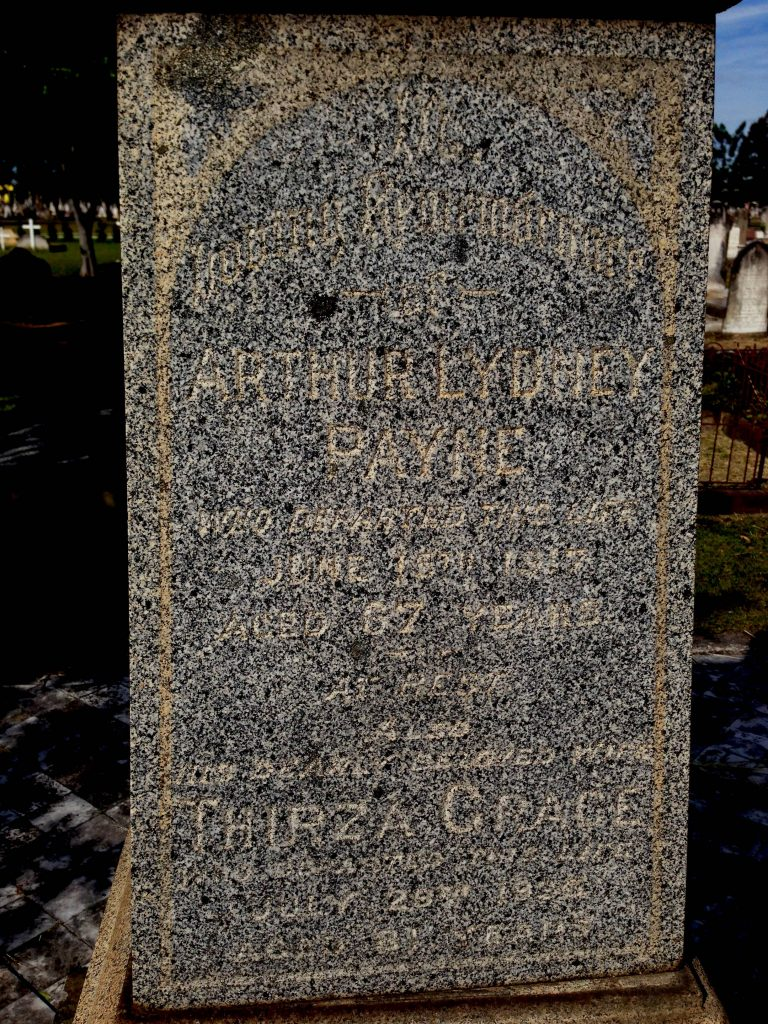 Inscription on grave monument in Sandgate cemetery. (Contrast enhanced to improve readability.)