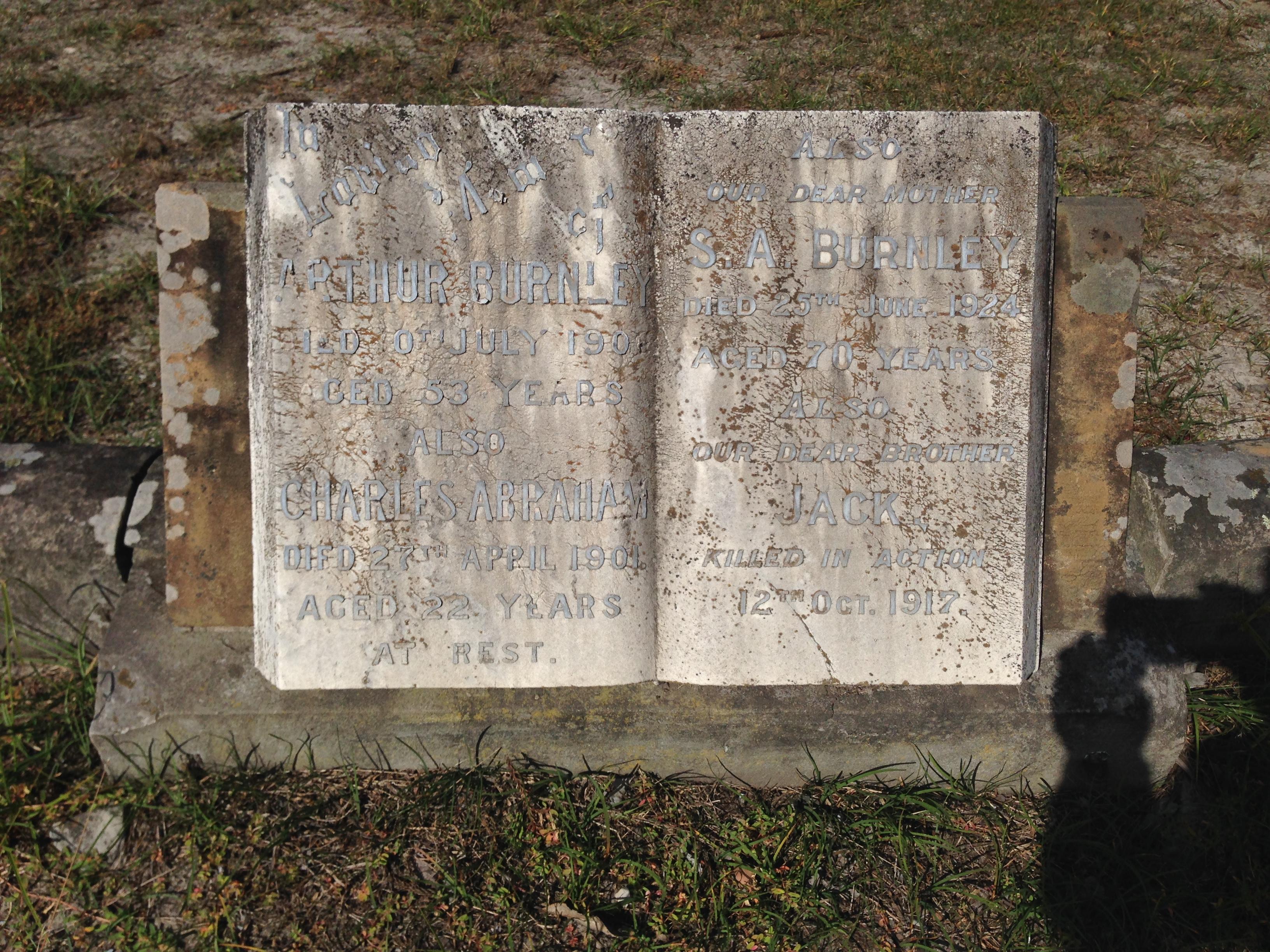Burnley family grave site, Sandgate cemetery.