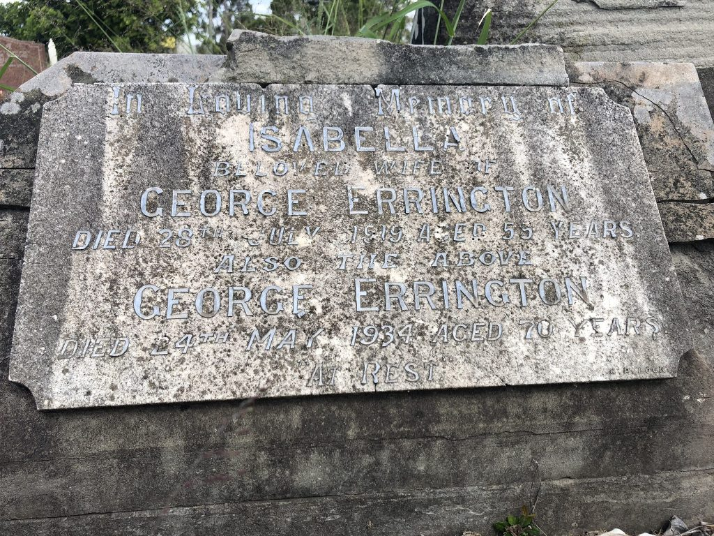 Headstone of George Errington.