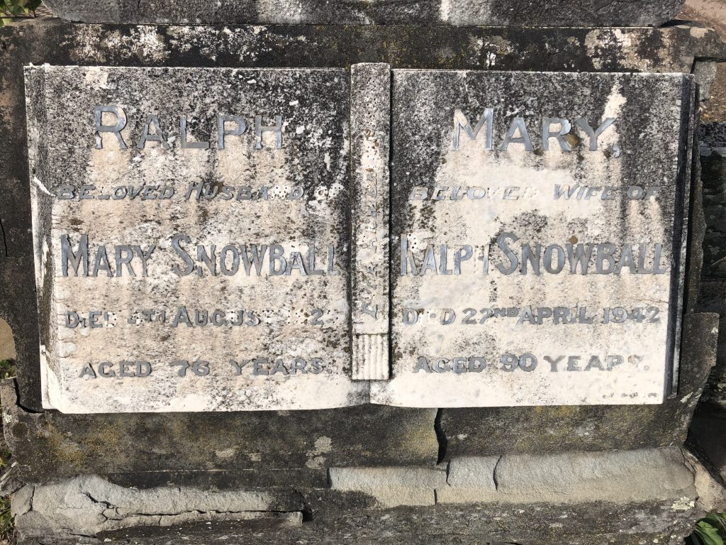Headstone of Ralph and Mary Snowball